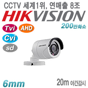 [올인원-2M] DS-2CE16D0T-IRPF [6mm 20m IR IP67] [TVi AHD Cvi SD]