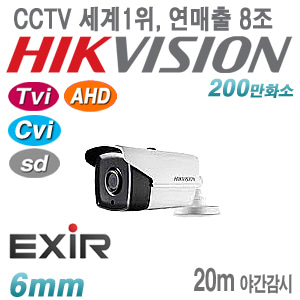 [올인원-2M] [세계1위 HIKVISION] DS-2CE16D0T-IT1F [6mm EXIR IP66] [TVi AHD Cvi SD]