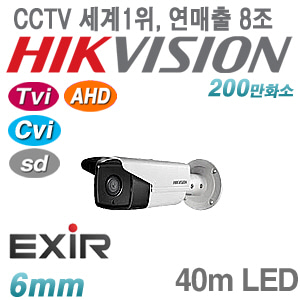 [올인원-2M] [세계1위 HIKVISION] DS-2CE16D0T-IT3F [6mm 40m EXIR IP66] [TVi AHD Cvi SD]