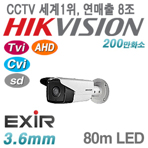 [올인원-2M] [세계1위 HIKVISION] DS-2CE16D0T-IT5F [3.6mm 80m EXIR IP66] [TVi AHD Cvi SD]