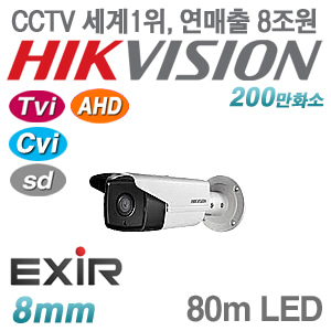 [올인원-2M] [세계1위 HIKVISION] DS-2CE16D0T-IT5F [8mm 80m EXIR IP66] [TVi AHD Cvi SD]