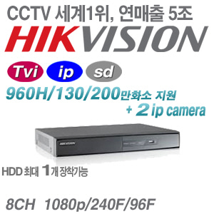 [ TVI ] [세계1위 HIKVISION] DS-7208HGHI-SH [ 1HDD + 2IP ]