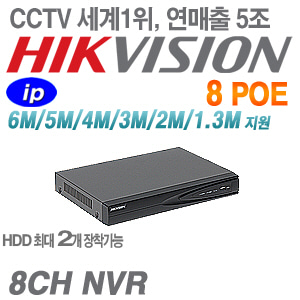 [IP-NVR] [세계1위 HIKVISION] DS-7608NI-E2/8P [2HDD 8POE]